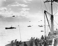 Convoy of infantry landing craft en route to the Normandy coast, June 6, 1944.
