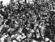 Troops preparing for the Channel crossing to Normandy, June 6, 1944.