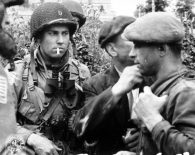 Francs-tireurs of the French Resistance and American paratroopers, Normandy, June 1944.
