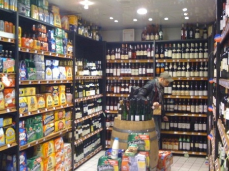 The wine section of a Paris convenience store. Notice how it's 3 times bigger than the beer section.