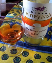 Hyman Vineyards Southern Sunrise Blush, the rosé from my home state that my French brother-in-law quite surprised described as the best he'd ever tasted
