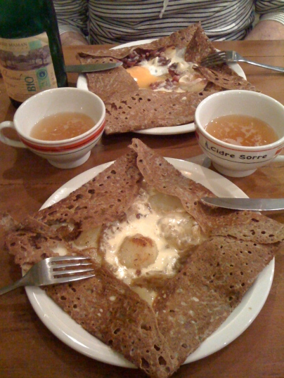 Our first crêpes in Brittany (with cider, of course)