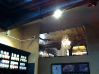 The barristas deserve a view of the chandeliers, too, right?