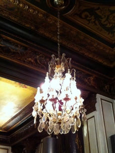 One of the many chandeliers
