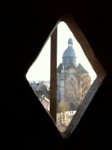 A view of La Collégiale Saint-Quiriace from inside La Tour César