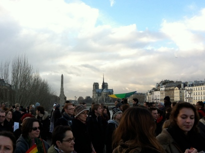 Crossing the Pont de Sully, with Notre Dame in the distance