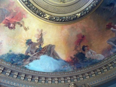 Detail from the ceiling of the Salon du Glacier, one of many small salons in the Opera, painted by Georges Clairin
