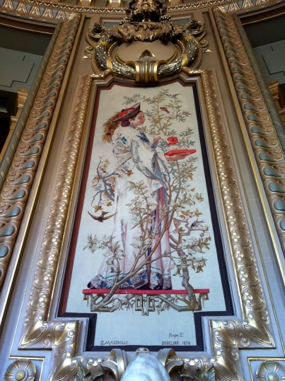 "A tapestry by the renowned tapestry factory, the Gobelins Manufactory, in the Salon du Glacier, depicting ""tea"""