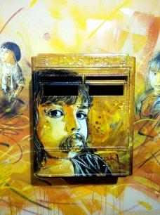 C215. Nostos (detail). Stencil on mailbox. 2012. Created for exhibition, L'Adresse Musée de la Poste, Paris.