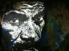 C215. Smoke gets in your eyes. Stencil and acrylic on cardboard. 2012. Created for exhibition, L'Adresse Musée de la Poste, Paris.