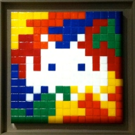 Invader. Rubik Space Camo Two. Mosaic on board. 2005. Private collection.