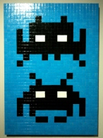 Invader. Blue and Black Duo. Mosaic on board. 2004. Collection of N Guéron.