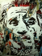 Vhils. Disposable utopia series 10. Acrylic on posters collected on the street. 2011. Collection of A. Oliveux, courtesy of Galérie Magda Danysz, Paris.