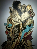 Swoon. Alixa & Naima. Original engraving on linoleum, printed on Mylar and painted by hand (unique, unnumbered copy). 2012. Private collection, courtesy of Galérie LJ.