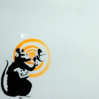 Banksy. Future, Dirty Funker. Serigraph on vinyl disk cover. 2008. Private collection.