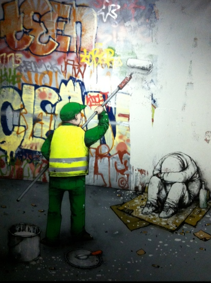 Dran. Ville propre (Clean city). Mixed media on canvas. 2011. Private collection.