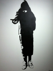 Blek le rat. The Beggar. Stencil on canvas.