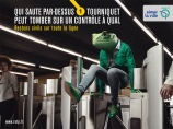 """He who jumps a turnstile can end up getting checked on the platform."" © RATP"
