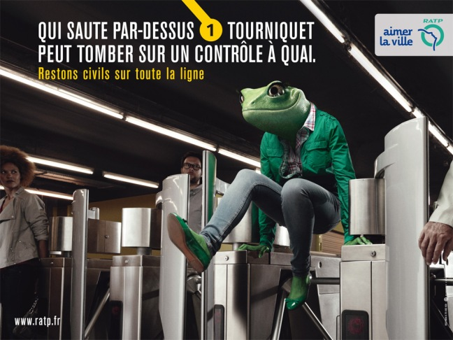 """""""He who jumps a turnstile can end up getting checked on the platform."""" © RATP"""