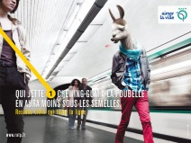 """He who throws chewing gum in the trash will have less of it on the soles of his shoes."" © RATP"