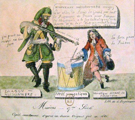 Gravure protestante représentant les dragonnades en France sous Louis XIV. Godefroy Engelmann d'après un dessin de 1686 Musée internationale de la Réforme protestante, Genève (Suisse)