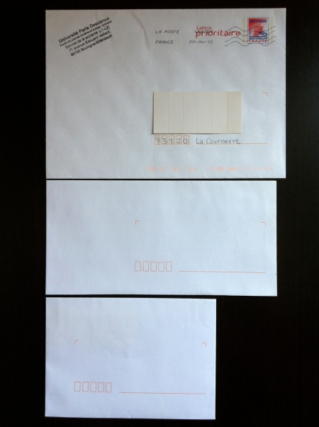To visually demonstrate the difference: The envelope at the top is what Post Office Guy told me was 16 x 11. (It's actually 22  x 16.) The middle envelope is what we Americans think of as standard envelopes (here, about 22 x 11). The envelope at the bottom is what I asked for (16 x 11). Not quite what you see at top, huh?
