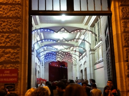 The entrance. I love the blue, white, and red lights.