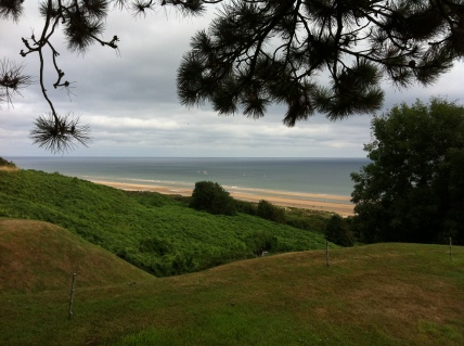 Omaha Beach viewed from atop the bluffs