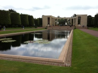 the reflecting pool in front of the memorial