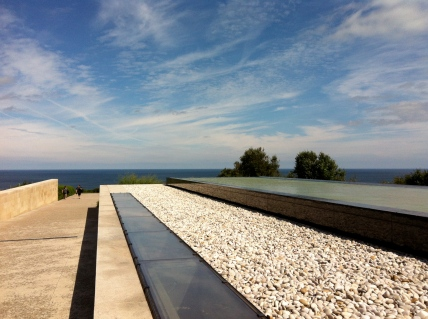 the reflecting pool above the museum ... towards the sea