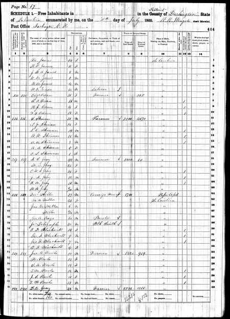 "1860 Census Report: Line 12: ""P.J. Skinner"""
