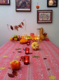 With the tablecloth and more candles