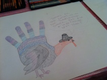 A vegetarian Pilgrim hand turkey!