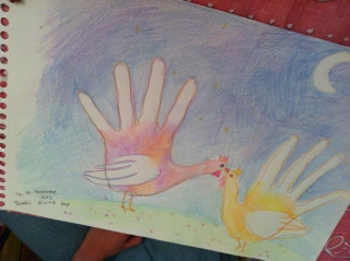 Two hand turkeys in love!